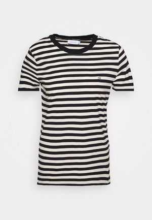 SMALL LOGO STRIPE CREW NECK - Print T-shirt - black/white