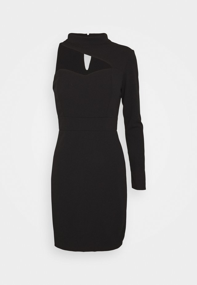 TURTLE NECK STYLE MINI DRESS - Juhlamekko - black
