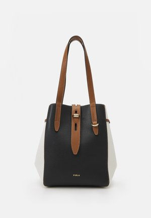 NET TOTE - Handbag - nero/talco/cognac