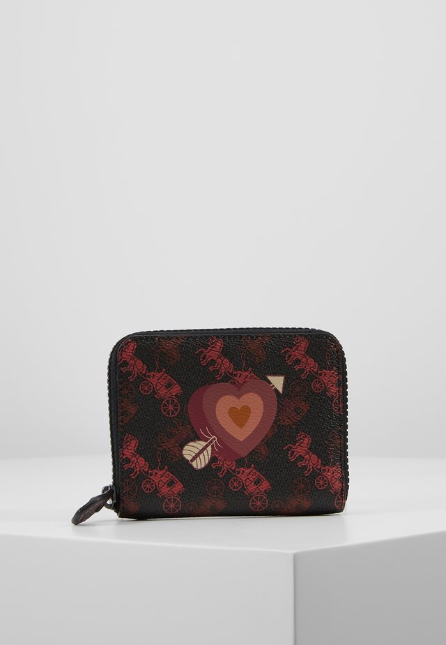 HORSE AND CARRIAGE COATED HEART SMALL ZIP AROUND - Lommebok - black oxblood