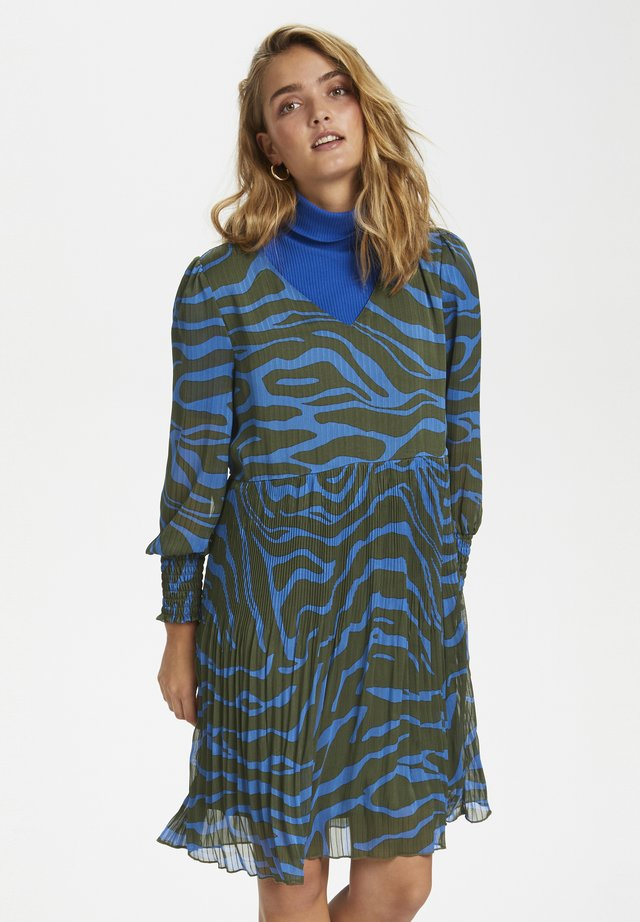 Korte jurk - blue zebra print