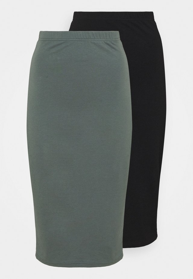 2 PACK - Pencil skirt - black/green