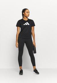 adidas Performance - LOGO TEE - Print T-shirt - black/white - 1