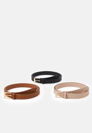 3 PACK - Belt - black/cognac/pink