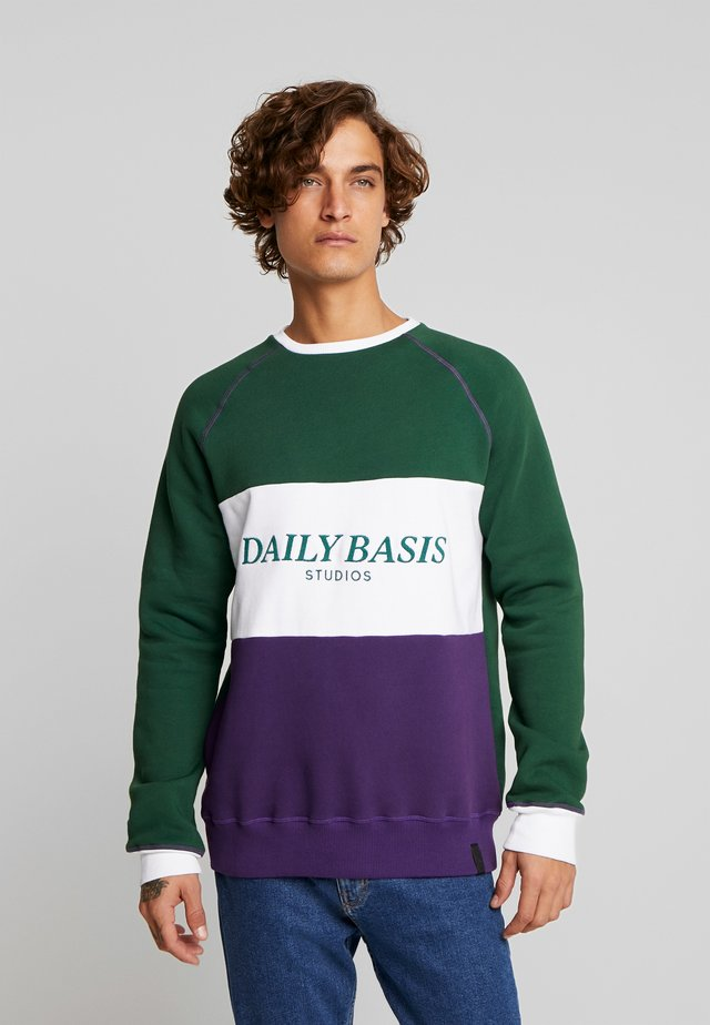 BLOCK CREW - Felpa - forest green/purple/white