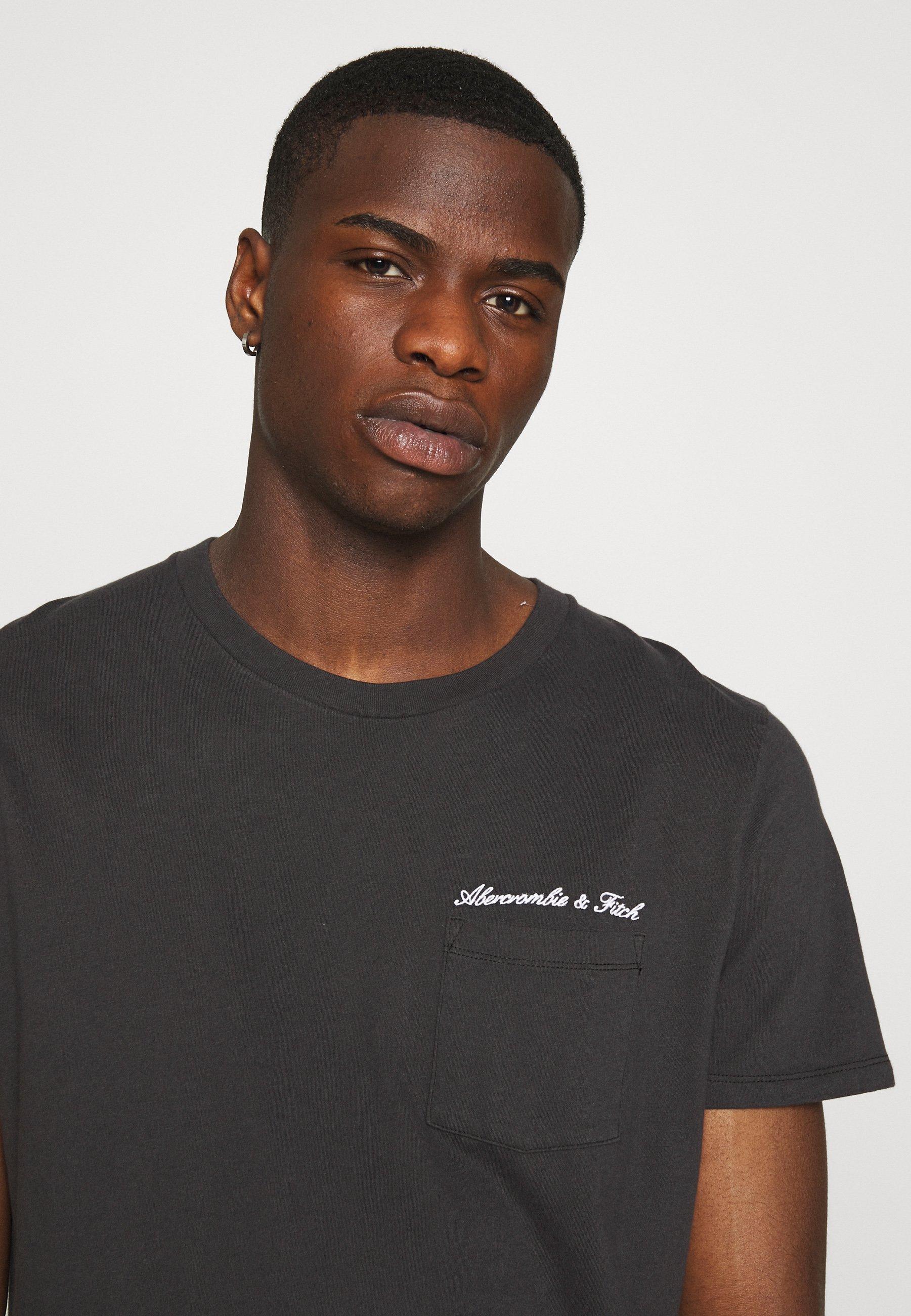 Abercrombie & Fitch Washed Script - T-shirt Z Nadrukiem Black