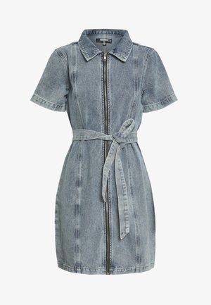 ACID WASH ZIP UP SELF BELT DRESS - Day dress - denim blue