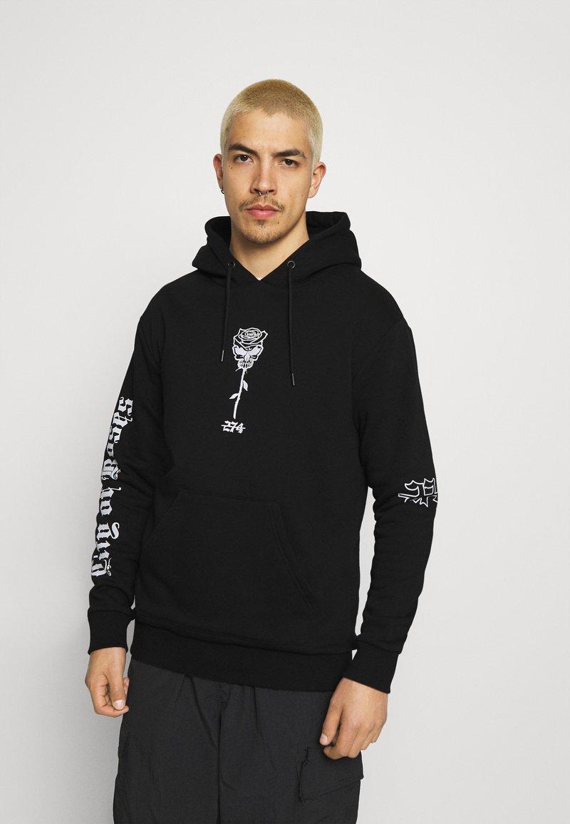 274 - SKULL ROSE HOODIE - Sweatshirts - black