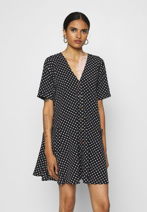 BUTTON SMOCK DRESS POLKA DOT - Shirt dress - black