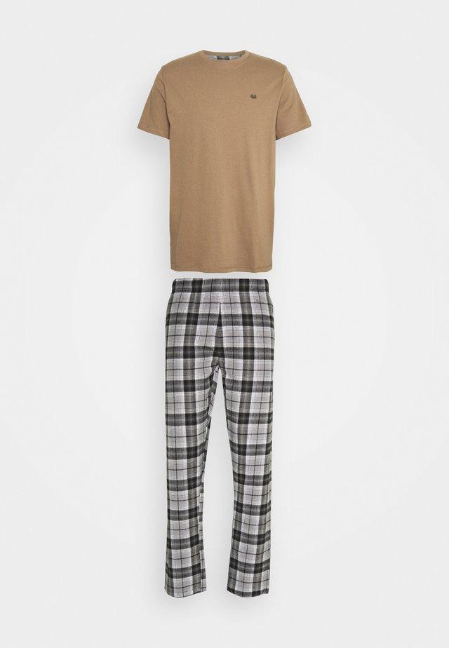 TONAL CHECK - Pyjama - black