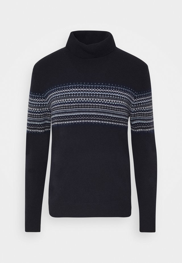 FAIRISLE ROLL NECK - Strickpullover - multi blue