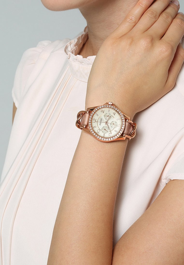 Fossil - RILEY - Watch - rosegold-coloured/light brown