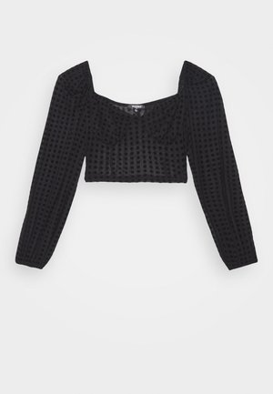 POLKA DOT FLOCK CROP  - Long sleeved top - black