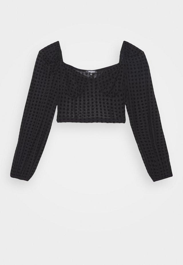 POLKA DOT FLOCK CROP  - Langærmede T-shirts - black
