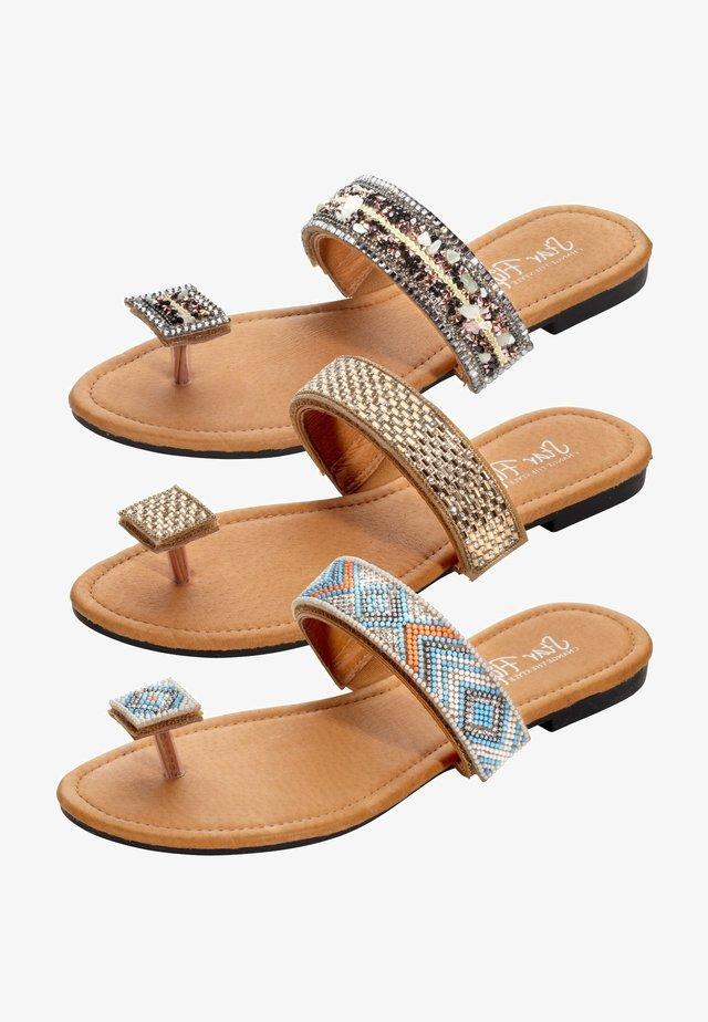3in1 - T-bar sandals - cognac