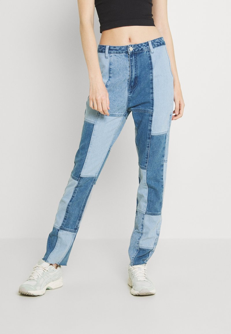 Missguided - PATCHWORK - Jeans straight leg - blue