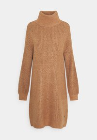 Noisy May - NMROBINA HIGH NECK DRESS - Strikket kjole - camel melange - 4