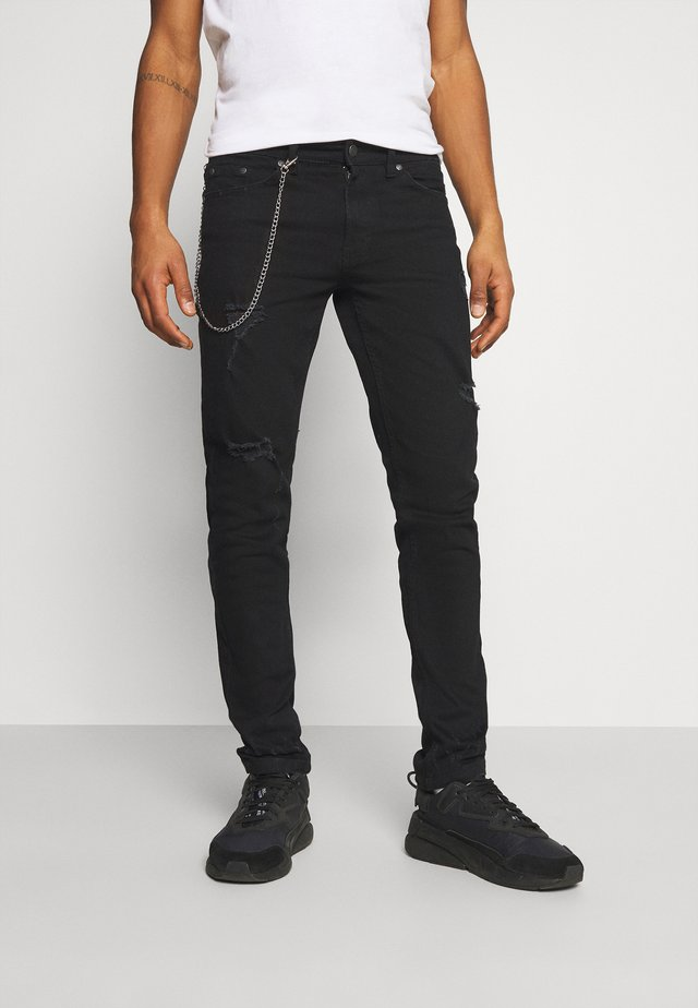 MR RED CHAIN DESTROY - Jeansy Straight Leg - black