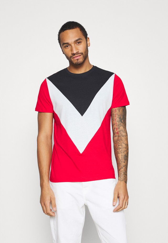 POINTC - T-shirt con stampa - navy/optic white/red