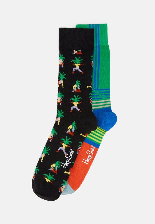 YOGA PALM FOLDED STRIPE 2 PACK - Socks - black/green