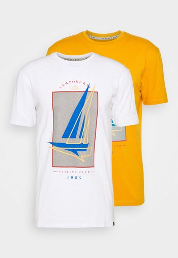 BOAT 2 PACK - Printtipaita - navy/mustard