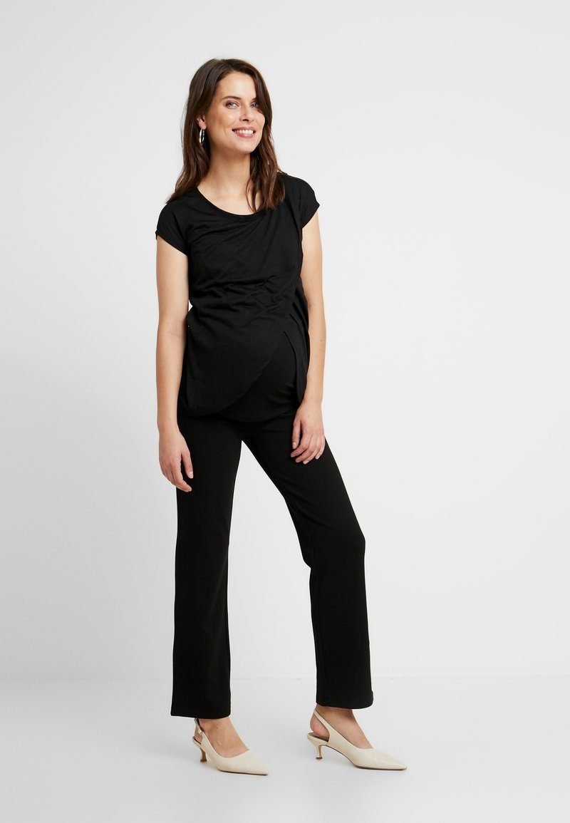 New Look Maternity - NURSING WRAP TEE 2PACK - T-shirts med print - black / burgundy