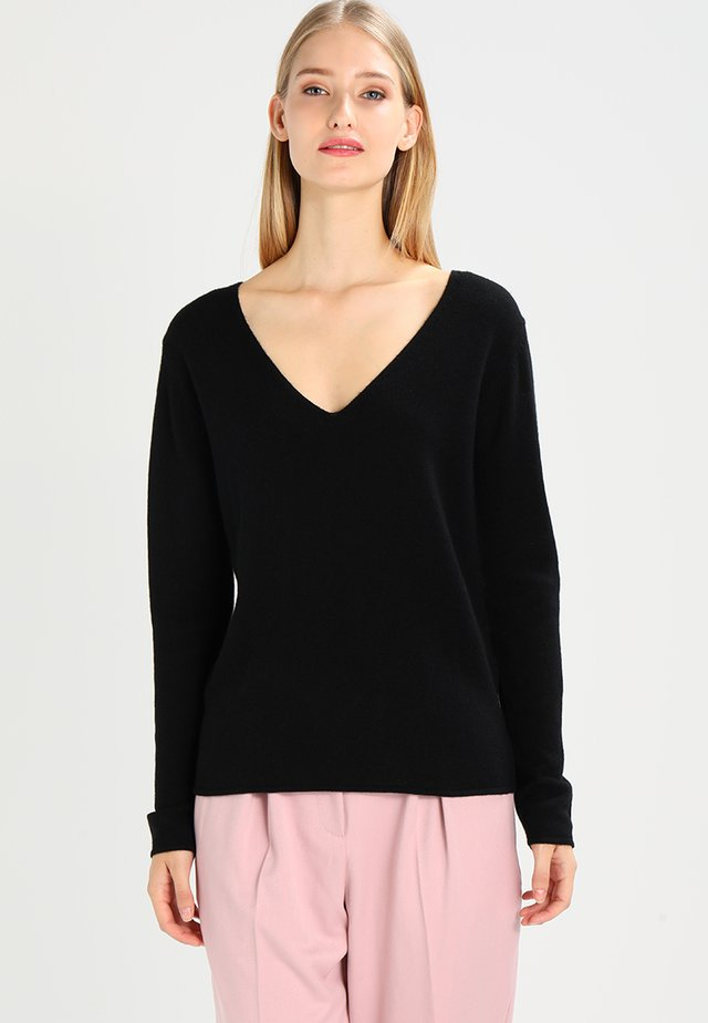 WOOL AND CASHMERE-MIX - Trui - black