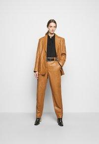 Alberta Ferretti - Leather trousers - brown - 1