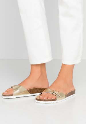 ONLMADISON LEATHER SLIP  - Slippers - gold