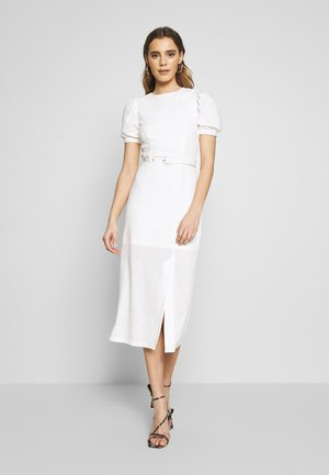 BELTED MIDI DRESS - Trikoomekko - cream