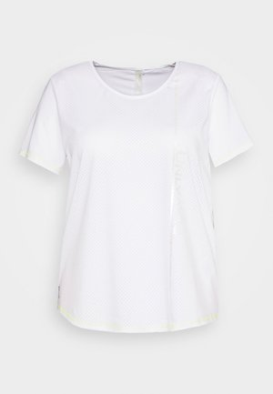 ONPALIX TRAINING TEE CURVY - Print T-shirt - white/safety yellow/iridescent