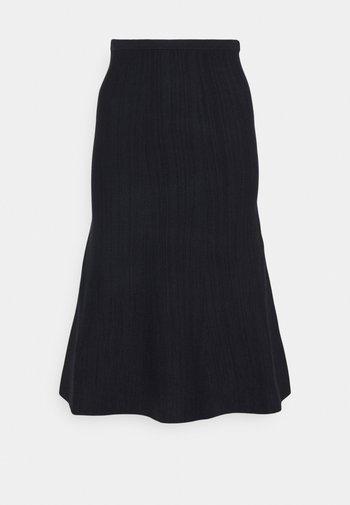 KNIT SKIRT - Áčková sukně - navy melange/black