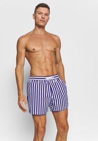 Topman - STRIPE SWIM - Swimming shorts - blue - 0