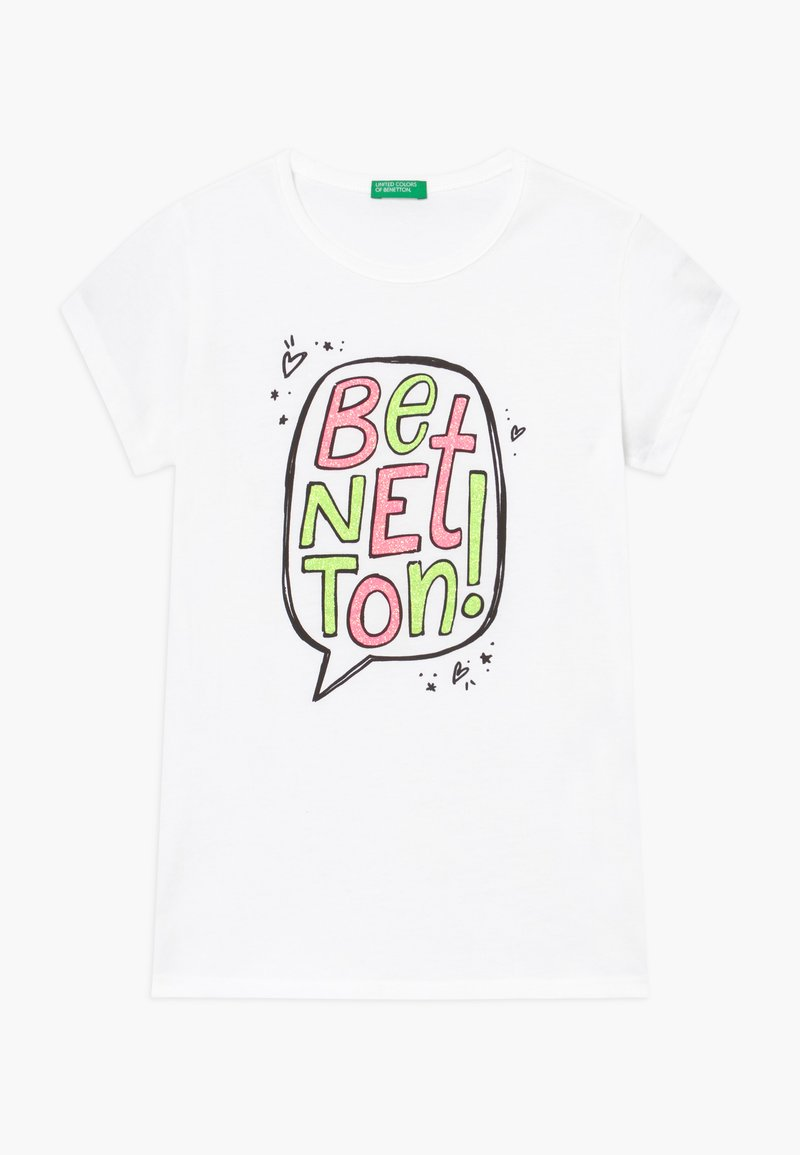 Benetton - T-shirt z nadrukiem - white