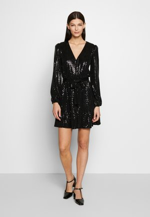 MIRROR DOT CROSS OVER DRESS  - Vestito elegante - black/silver