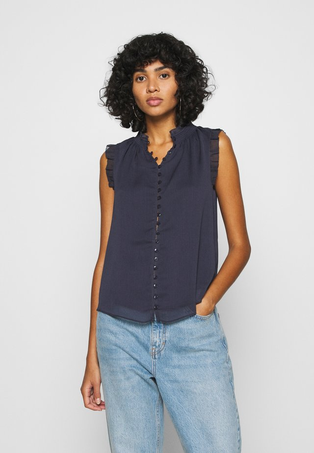 SHIRRING TANK - Blouse - navy