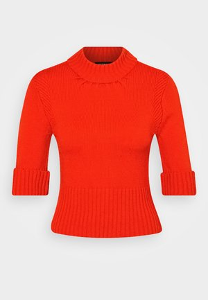 SHORT SLEEVE SWEATER - Strikkegenser - tomato
