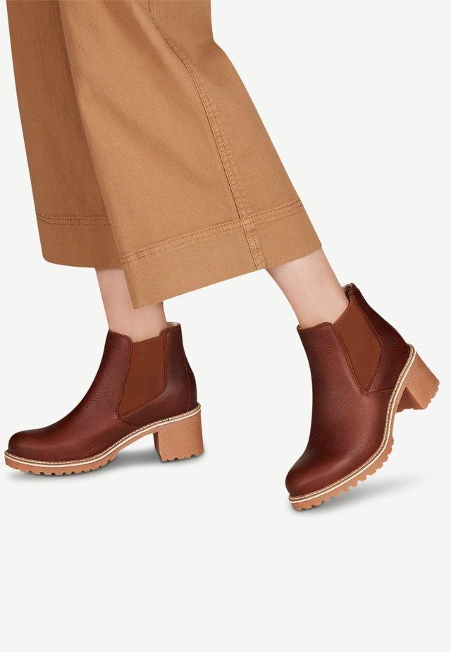 Boots à talons - cognac pull up