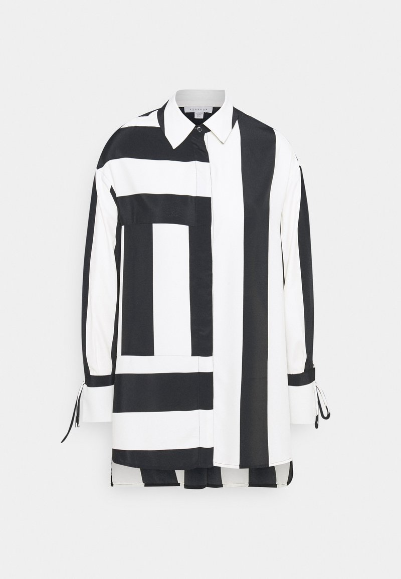 Topshop STRIPE CHUCK ON - Bluse - black/white/schwarz o5GFkz