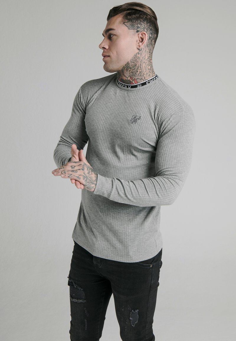 SIKSILK - RIB KNIT TEE - Long sleeved top - grey