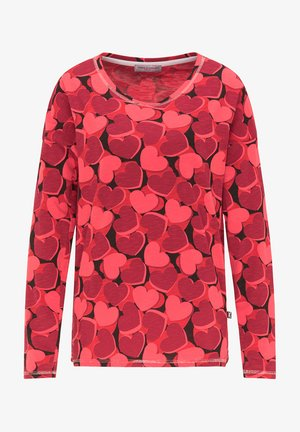 BAUMWOLLSHIRT MIT ALLOVER-HERZPRINT - Long sleeved top - cherry red