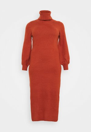 SLOUCHY JUMPER MIDI DRESS WITH PUFF LONG SLEEVES - Jumper dress - rust