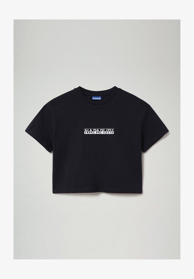 S-BOX CROPPED - Print T-shirt - blu marine