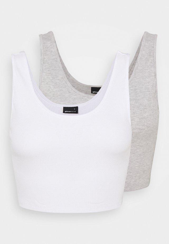 MIRANDA TANK 2 PACK - Toppe - white/grey melange