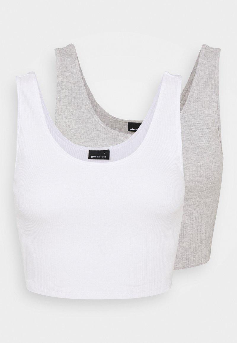 Gina Tricot - MIRANDA TANK 2 PACK - Top - white/grey melange