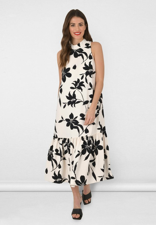 ABSTRACT FLORAL HIGH NECK  - Cocktailjurk - black