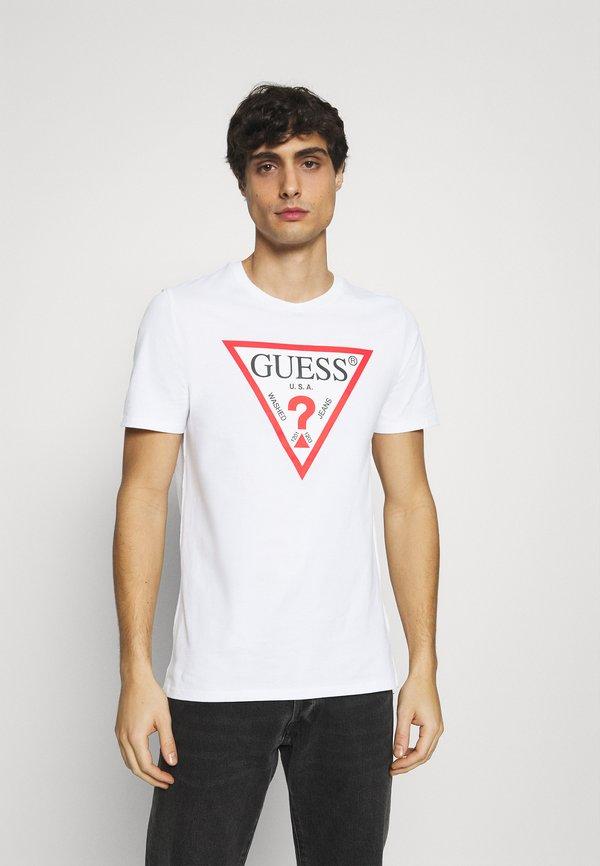 Guess ORIGINAL LOGO - T-shirt z nadrukiem - true white/biały Odzież Męska XNYG