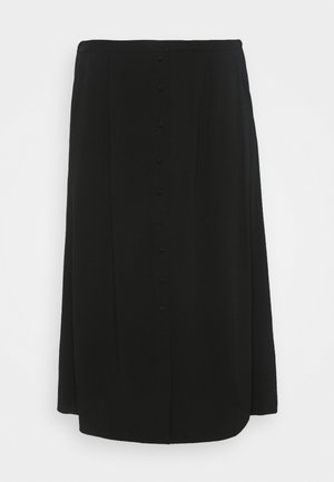 BUTTON UP MIDI SKIRT - A-line skirt - black