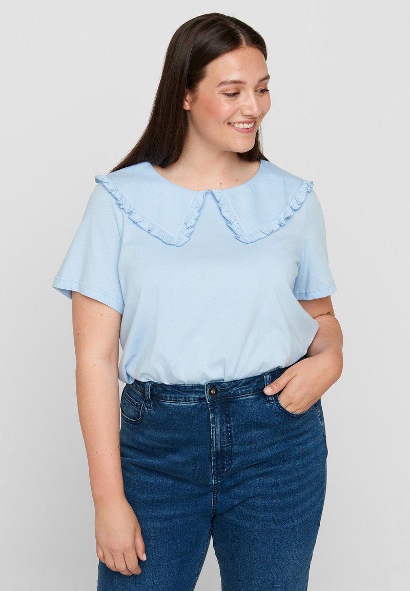 Zizzi - Print T-shirt - light blue