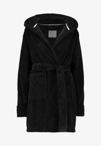 HOODED LUXE PLUSH GOWN - Dressing gown - black